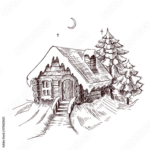 Winter Fairy House Outside Pine Forest And Snow Vector Ilration Template For Merry Christmas Card New Year Design See More