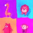 canvas print picture - Carton portrait of zoo animals. 3d rendering picture.