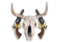 Antique Pistols And Cow Skull.