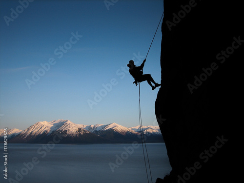 Photo Climber Rappelling in Alaska