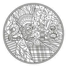 Circle Mandala. 2018. Design Zentangle. Hand Drawn Abstract Patterns On Isolation Background. Design For Spiritual Relaxation For Adults.  Black And White Illustration For Coloring. Zen Art