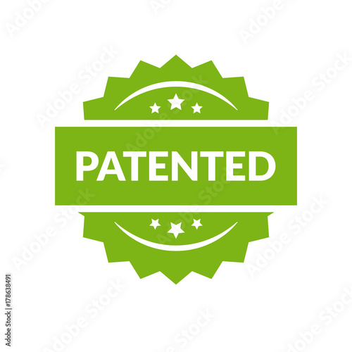 Fototapeta Patented stamp vector label, flat cartoon patent badge isolated on white background