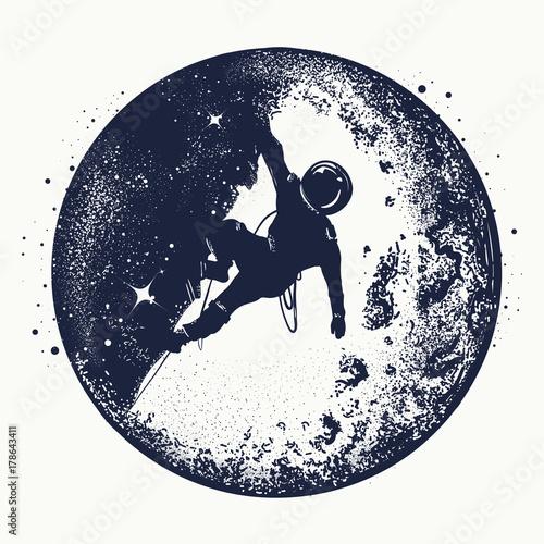 Astronaut tattoo and t-shirt design Plakat