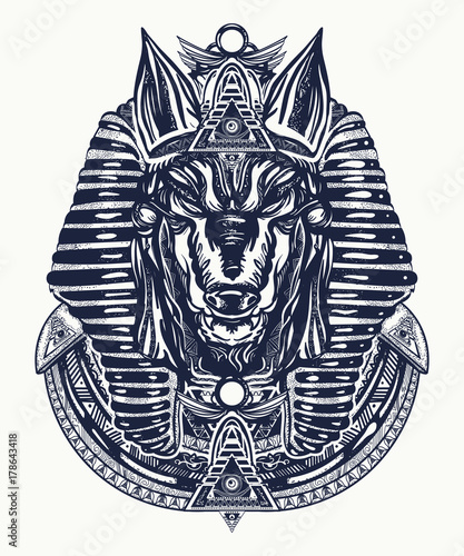 Anubis tattoo and t-shirt design Canvas Print