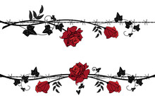 Set Of Dividers With Rose With Barbed Wire