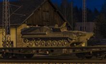 Train With Army Tanks In Autumn Night In Veseli Nad Luznici