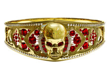 Jewelry Gold Skull Ring Or Bracelet With Diamond And Red Gems. Antiques Fingers Ring From Pirate Treasure Or Hoard May Be Magic Vampire Artifact. Luxury Bijouterie Band On Isolated. 3D Render.