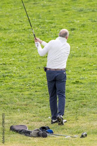 Plakat Golfista w akcji