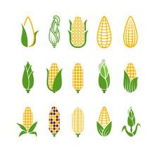 Organic Corn Vector Icons Isol...