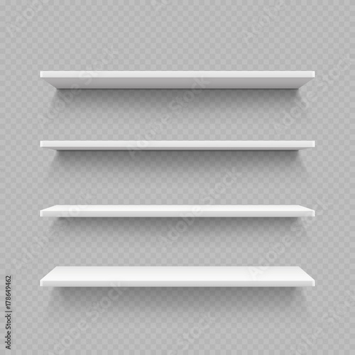 Cuadros en Lienzo  Empty white shop shelf isolated on transparent background