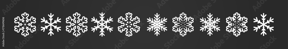 Fototapeta Big winter banner with snowflakes row. Geometric icons collection