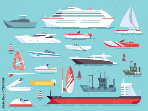 Fotografía Big set of sea boats and little fishing ships