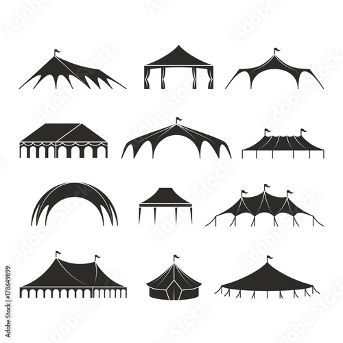 Foto Outdoor shelter tent, event pavilion tents vector icons