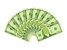 Dollar Banknotes Fan. Green Cu...