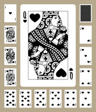 Hearts Suit Playing Cards
