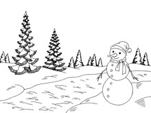 Winter Forest Graphic Snowman ...