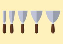 Icon Flat Set, Wall Scraper Tools,  Vector Illustration
