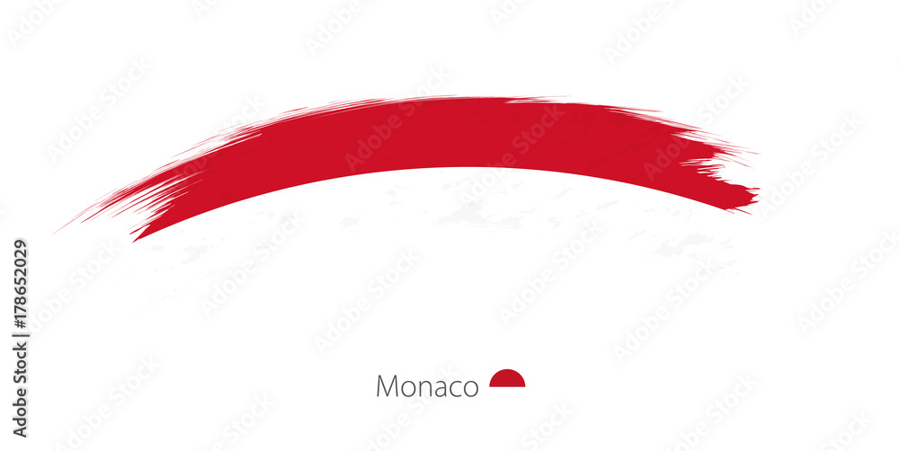 Fototapety, obrazy: Flag of Monaco in rounded grunge brush stroke.