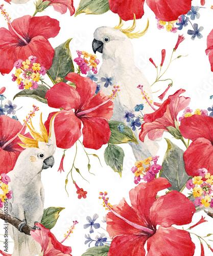 akwarela-tropikalny-kwiatowy-wzor