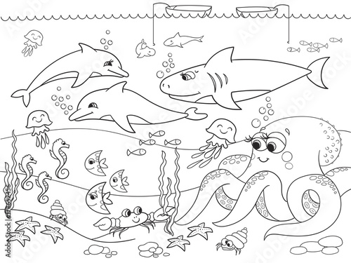 Fotografie, Obraz  Seabed with marine animals. Raster coloring for kids, cartoon.