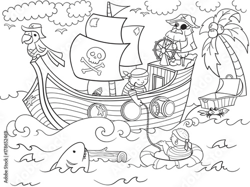 Fotografie, Obraz  children coloring on the theme of pirates raster