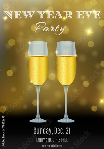 new year party flyer design with glasses of champagne and abstract bokeh background your club