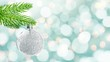 Seamless loop - Silver christmas ball hanging from a branch, moving holiday lights background, video HD