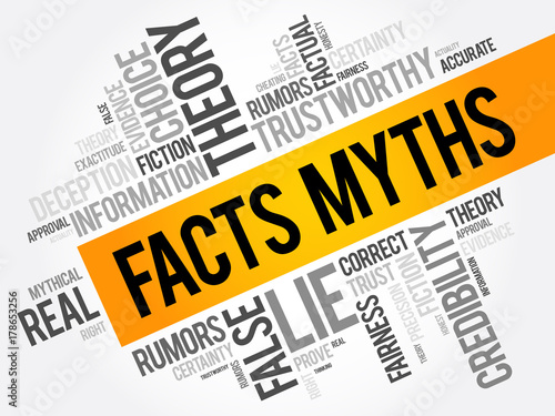 Facts - Myths word cloud collage, concept background Wallpaper Mural