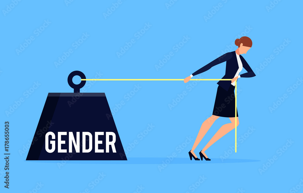 Fototapety, obrazy: Gender. Business concept of discrimination in a flat style with businesswoman.