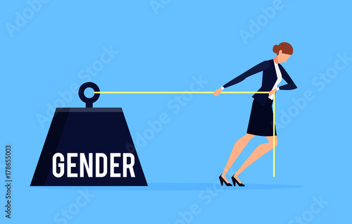 Fototapeta Gender. Business concept of discrimination in a flat style with businesswoman. obraz