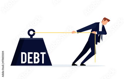 Fototapeta Debtor. Businessman is pulling a huge weight with a debt. obraz
