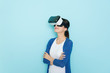 Leinwanddruck Bild - young attractive female student experience VR