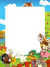Cartoon Scene With Farm Animal...