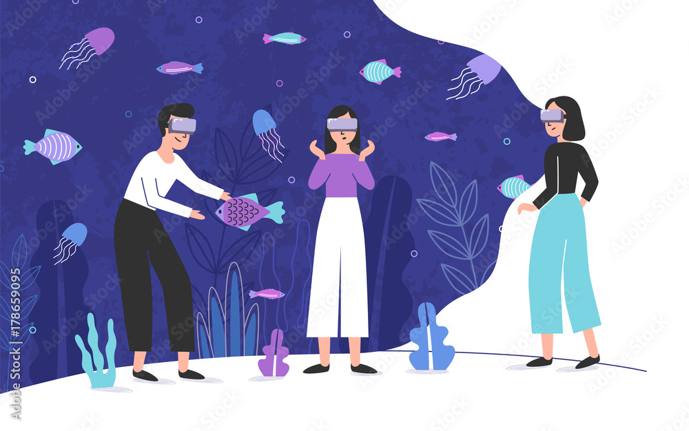 Fototapeta Three people wearing virtual reality glasses and standing inside giant aquarium full of exotic fish. Male and female cartoon characters enjoying VR headset effects. Colorful vector illustration.