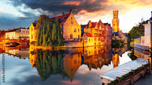 Garden Poster Bridges Belgium - Bruges, Rozenhoedkaai with Perez de Malvenda house and Belfort van Brugge at sunset