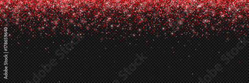Obraz Red glitter background, falling particles on transparent background, long horizontal. Vector - fototapety do salonu
