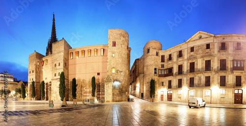 Obraz na dibondzie (fotoboard) Barcelona - Placa Nova, Panorama z katedry, Hiszpania