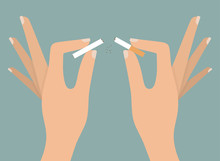 Woman's Hands Tearing Apart Cigarette. Quitting Smoking Concept