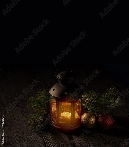 Foto op Plexiglas Wand Christmas decoration on a table