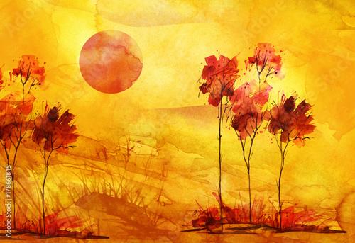 akwarela-gorski-krajobraz-silhouetted-czerwone-drzewa-przeciw-pomaranczowe-niebo-czerwone-slonce-zachod-slonca-dzicz-galezie-rosliny-trawa-krzewy-malowanie-obrazka-pocztowki-plakatu-naklejki-logo