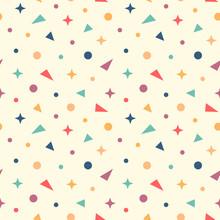 Colorful Vector Confetti, Geometric Symbols Seamless Pattern Background.