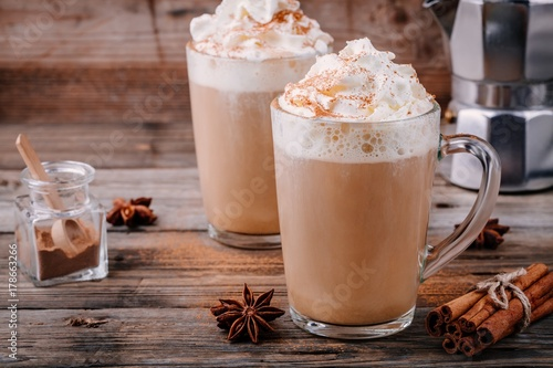 Pumpkin spice latte with whipped cream and cinnamon Canvas Print