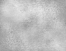 Silver Foil Texture, Grunge Background. Trendy Metallic Fabric Sample, Design Element.