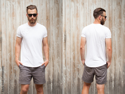 Fotografie, Obraz  Front and back view of a hipster handsome male model with beard wearing white bl