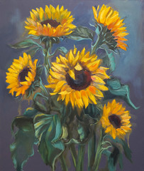 Fototapeta Sunflowers on dark gray background, original oil painting on canvas in impressionistic style.