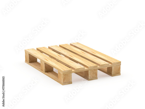 Cuadros en Lienzo One wooden pallet isolated on a white background. 3D illustration