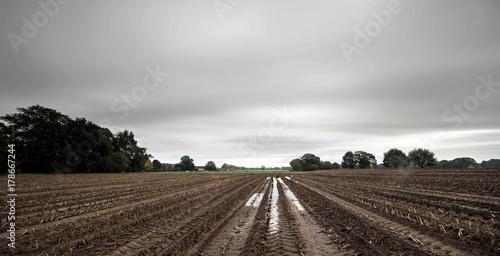 Foto auf Gartenposter Landschappen Tire tracks with rainwater in arable field under dark cloudy sky