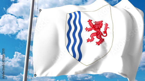 Photo Waving flag with coat of arms of Nouvelle-Aquitaine, a region of France