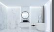 Leinwanddruck Bild - The luxury bathroom interiors design idea concept and marble texture wall