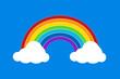 flat rainbow on blue